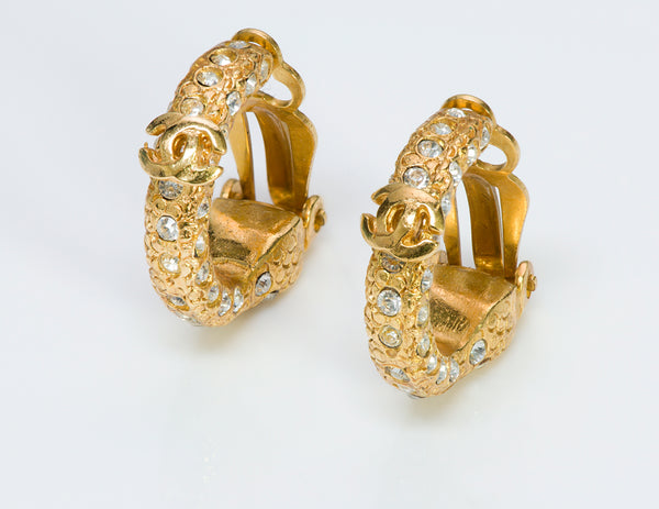 Chanel CC 2001 Gold Tone Crystal Hoop Earrings