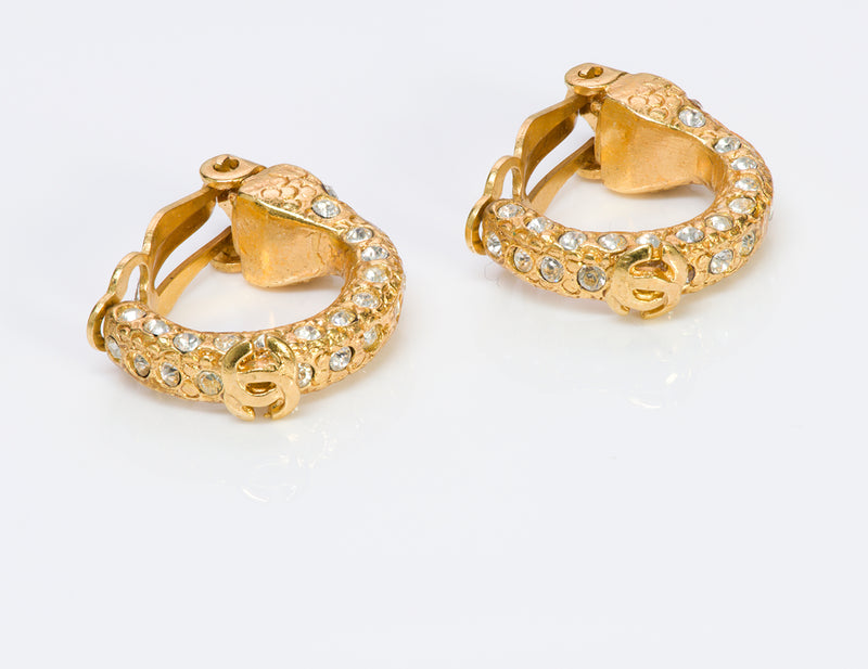 Chanel CC 2001 Gold Tone Crystal Hoop Earrings1