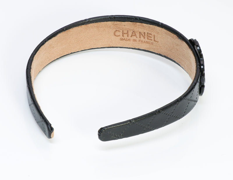 Chanel Black Quilted Leather Camellia Headband