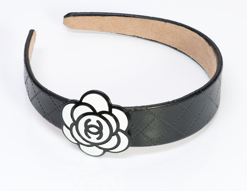 Chanel CC Black Quilted Leather Camellia Hair Headband