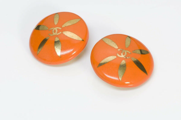 CHANEL CC Orange Ceramic Earrings