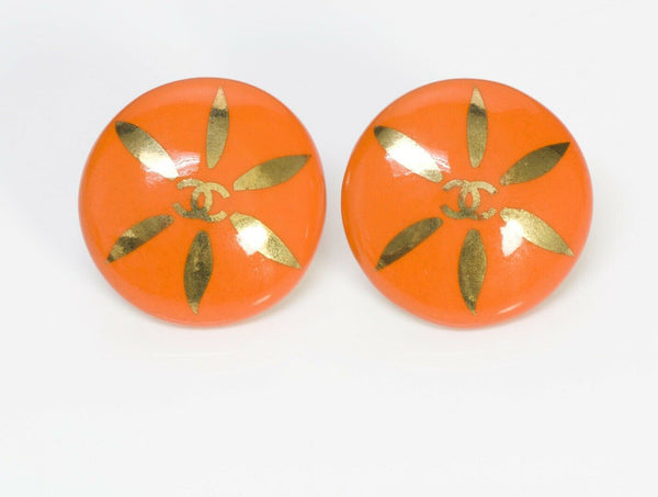 CHANEL CC 1997 Orange Ceramic Earrings