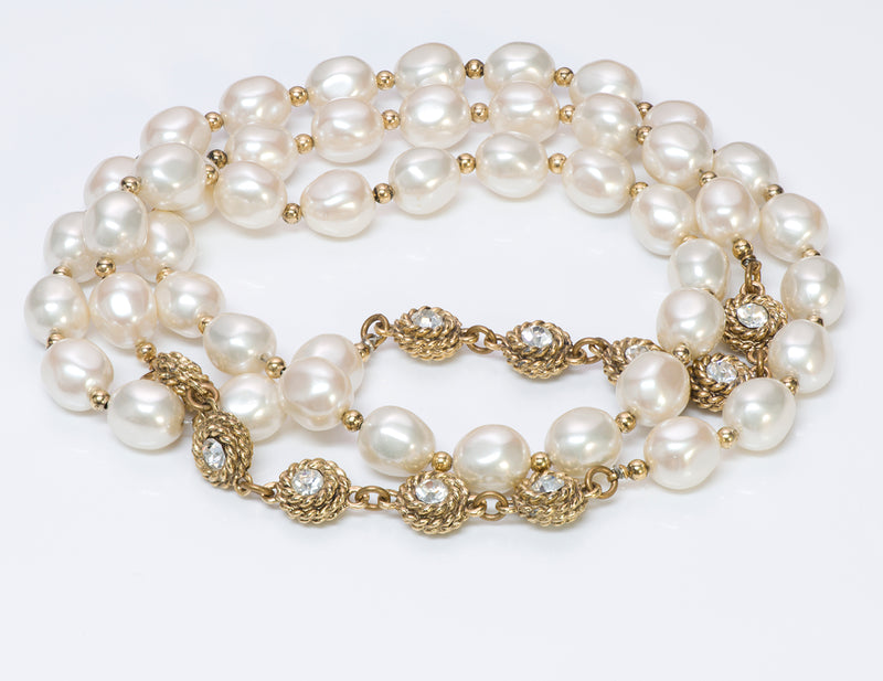 Chanel Pearl Camellia Crystal Necklace 1980