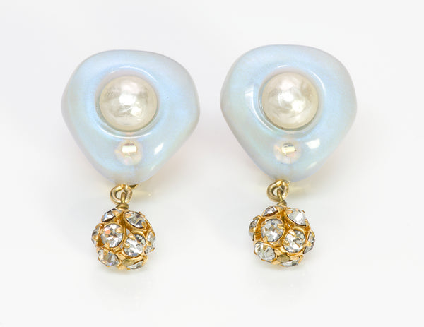 Chanel Pearl Crystal Earrings 1996