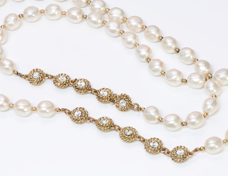 Vintage 1980's Chanel Pearl Camellia Crystal Necklace