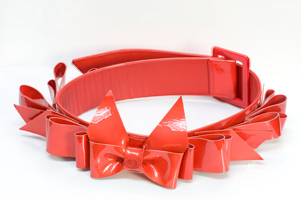 Chanel CC Spring Red Patent Leather Bow Belt 1