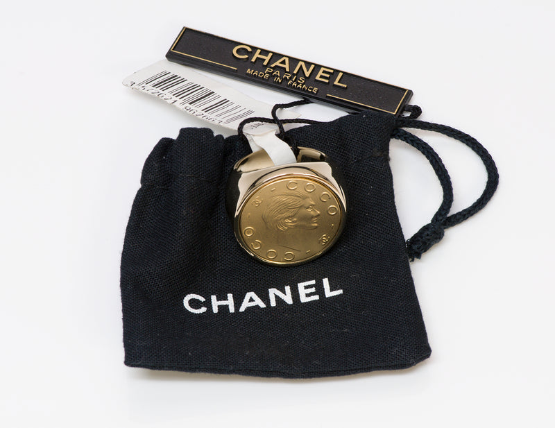 Chanel CC Coco Gold Tone Coin Cocktail Ring