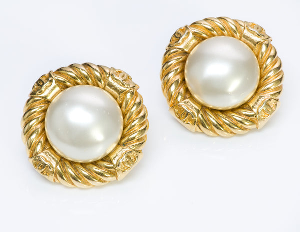 Chanel CC 1970's Rope Pearl Earrings