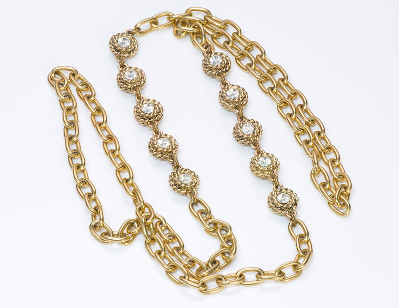 Chanel Gold Tone Chain Camellia Crystal Necklace