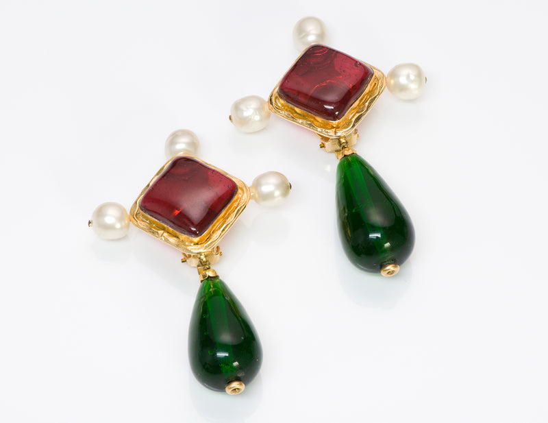Chanel Gripoix Green Red Glass Pearl Byzantine Style Earrings