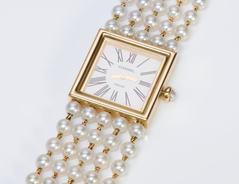 Chanel Mademoiselle 18K Gold Akoya Pearl Watch