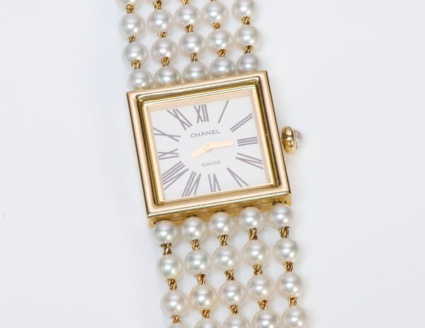 Chanel Mademoiselle 18K Gold Akoya Pearl Watch 2