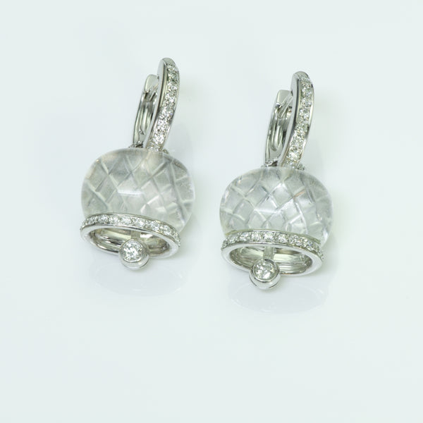 Chantecler Capri Diamond 18K White Gold Crystal Bell Earrings