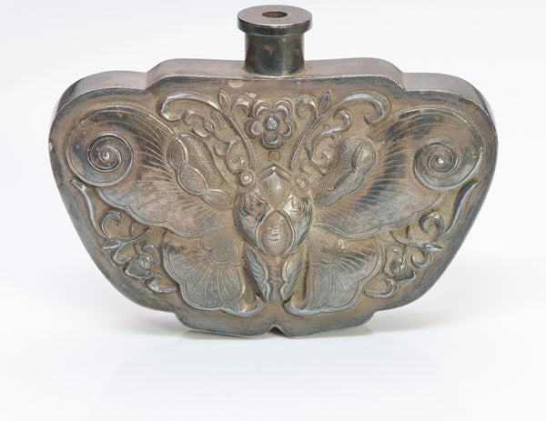 Antique Chinese Silver Moth Scent Flask