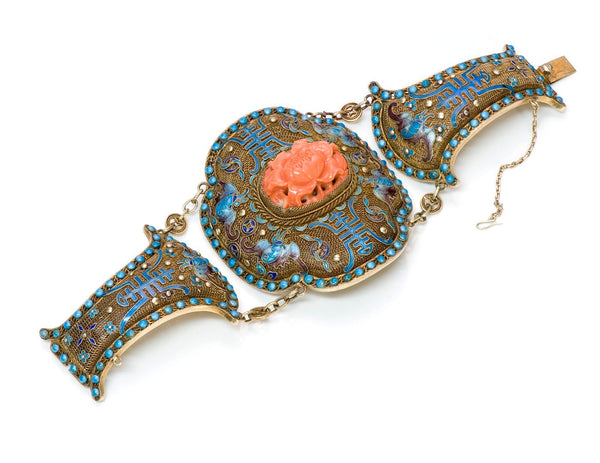 Chinese Carved Coral Enamel Silver Bracelet