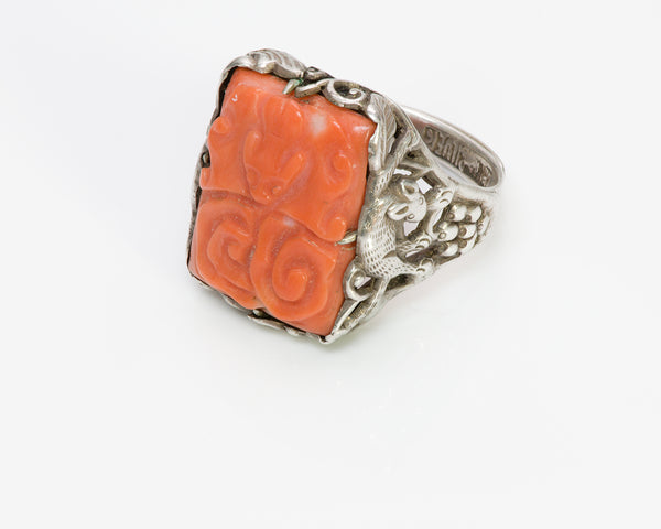 Chinese Coral Silver Vintage Ring