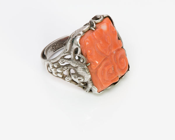Chinese Carved Coral Silver Ring