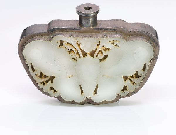 Antique Chinese Silver Jade Moth Scent Flask