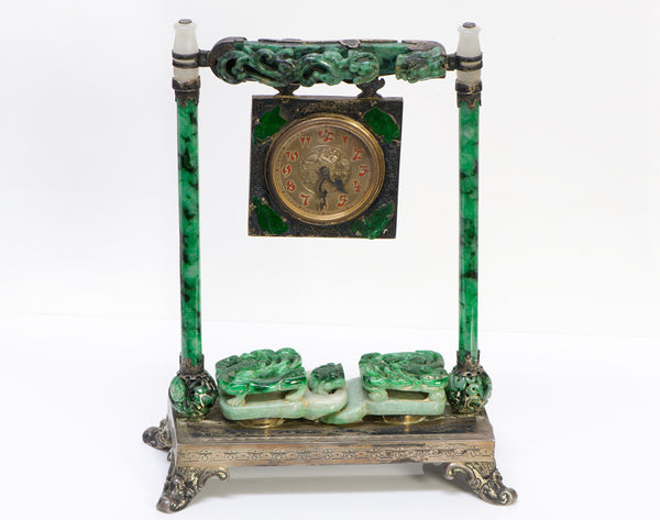 Edward Farmer Chinese Carved Jade Silver Clock