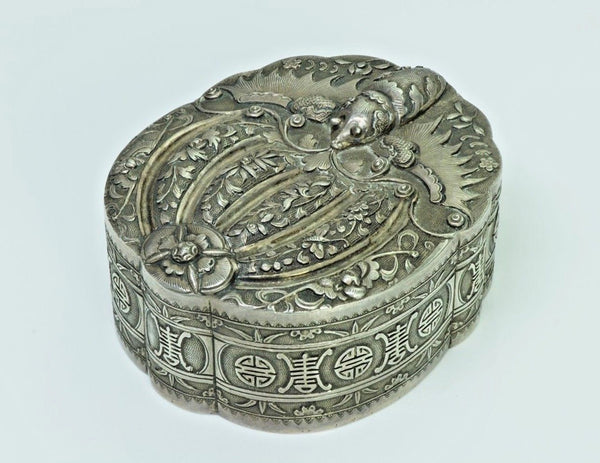Antique Chinese Silver Moth Box