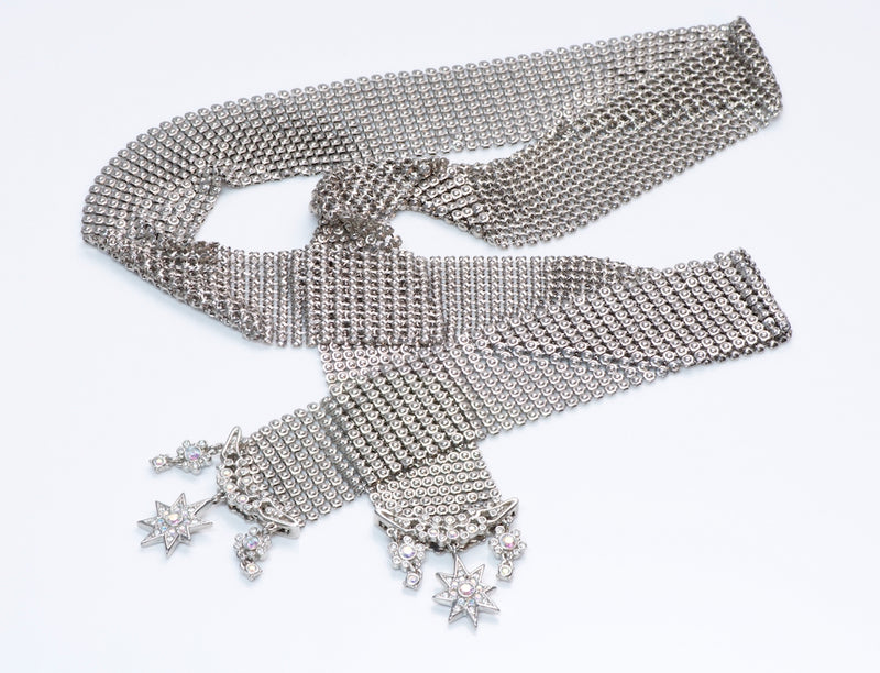 Christian Dior Metal Mesh Crystal Star Scarf NecklaceChristian Dior Metal Mesh Crystal Star Scarf Necklace
