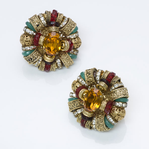 Christian Lacroix Couture Filigree Crystal Earrings