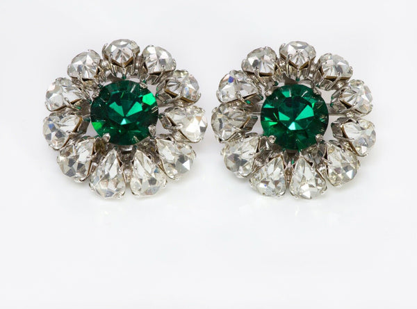 Christian DIOR 1965 Henkel & Grosse Green Crystal Earrings