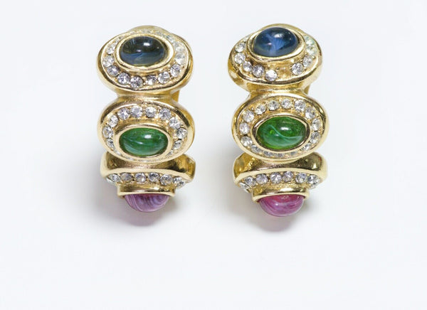 Christian DIOR Blue Green Red Glass Crystal Hoop Earrings
