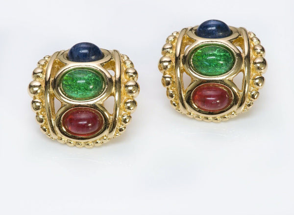 Christian DIOR Green Blue Red Cabochon Glass Earrings