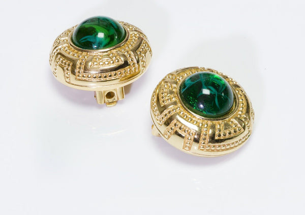 Christian DIOR TGreen Glass Earrings