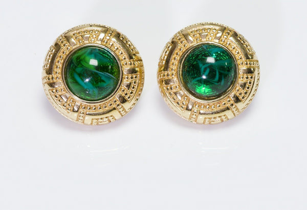 Christian DIOR Textured Green Cabochon Glass Earrings