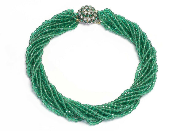 Christian DIOR Henkel & Grosse 1964 Green Glass Beads Multi Strand Necklace