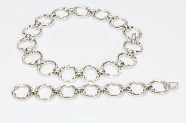 Christian DIOR Henkel & Grosse Silver Chain Link Necklace Bracelet Set