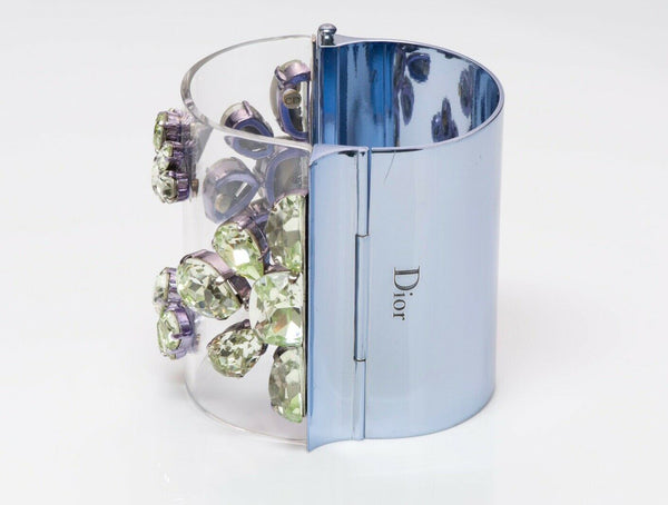 Christian DIOR In Me Green Crystal Blue Metal Wide Cuff Bracelet