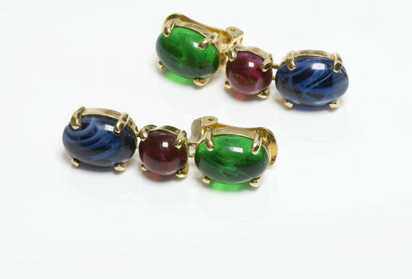 Christian DIOR Long Green Red Blue Cabochon Glass Earrings