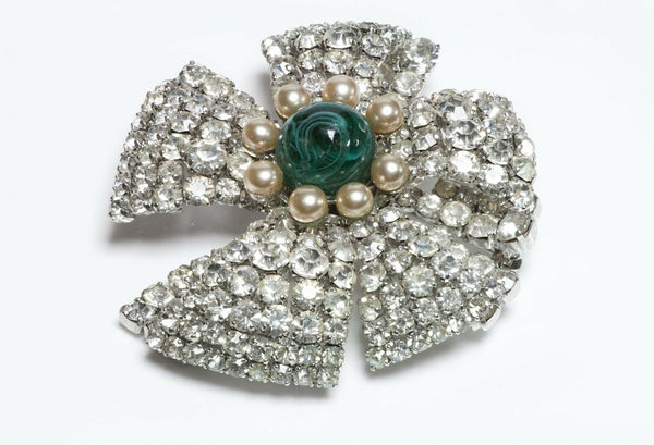 Christian DIOR 1960 Green Cabochon Glass Brooch