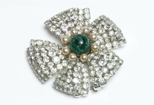 Christian DIOR 1960 Green Cabochon Glass Flower Brooch