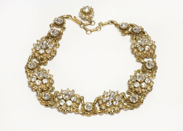 Christian DIOR by Kramer New York 1950's Faux Pearl Crystal Choker Necklace