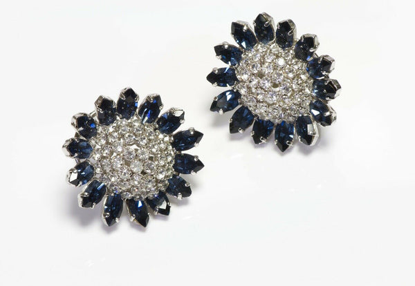 Christian Dior 1966 Henkel & Grosse Germany Blue Crystal Flower Earrings