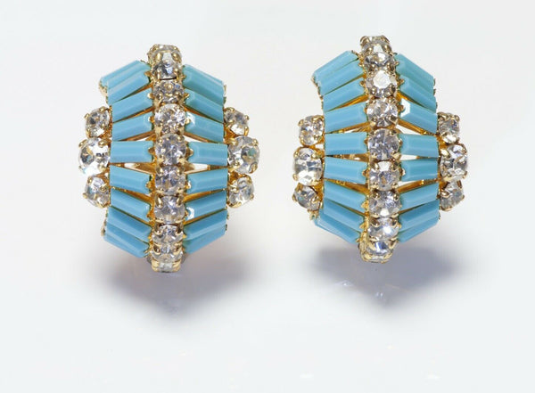 Christian Dior 1968 Henkel & Grosse Blue Crystal Hoop Earrings