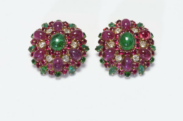 Christian Dior 1970 Henkel & Grosse Pink Glass Earrings