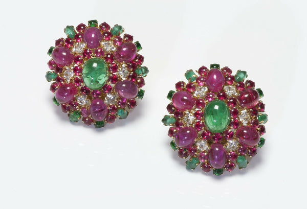 Christian Dior 1970 Henkel & Grosse Pink Red Glass Earrings