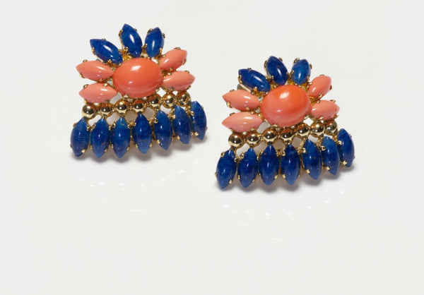 Christian Dior Henkel & Grosse 1969 Blue Glass Flower Earrings