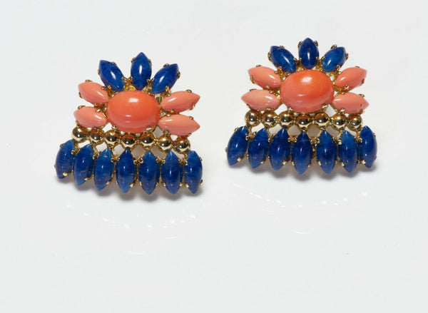 Christian Dior Henkel & Grosse 1969 Blue Orange Glass Flower Earrings