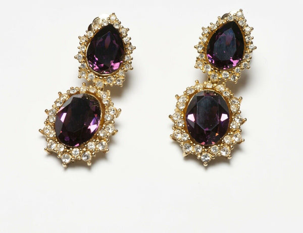 Christian Dior Henkel & Grosse Long Purple Crystal Earrings