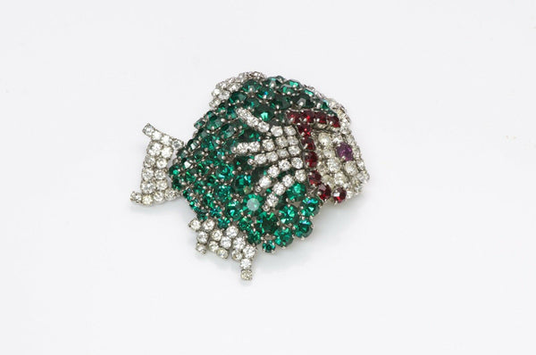 Christian Dior Henkel and Grosse 1961 Crystal Fish Brooch