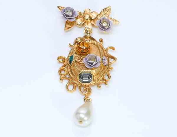 Christian Lacroix Crystal Flower Pearl Drop Brooch