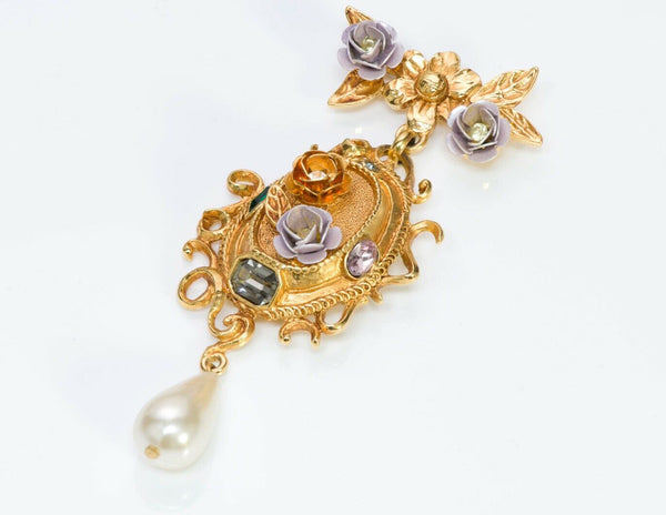 Christian Lacroix Crystal Enamel Flower Pearl Drop Brooch