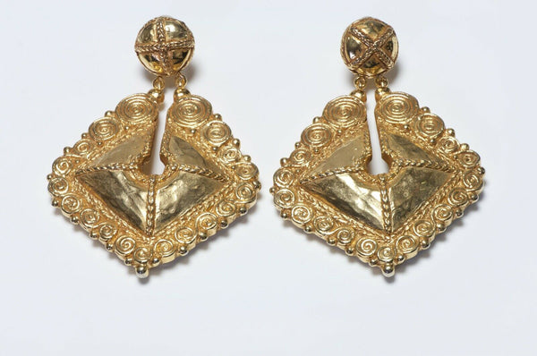 Christian Lacroix Paris Couture Long Drop Shield Earrings