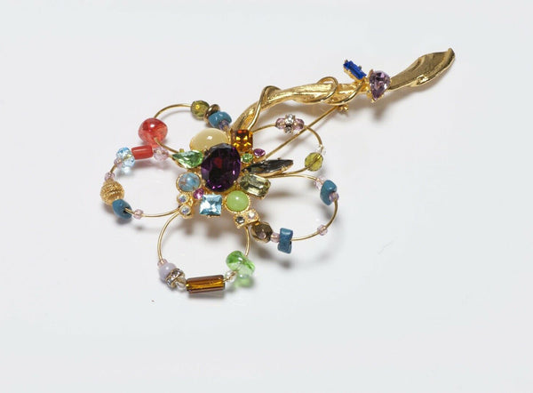 Christian Lacroix Paris Crystal Cabochon Glass Flower Brooch